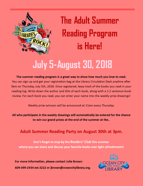 Summer reading prizes 2018 calendar