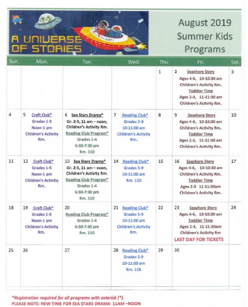 August Calendar of Kids Summer Programs