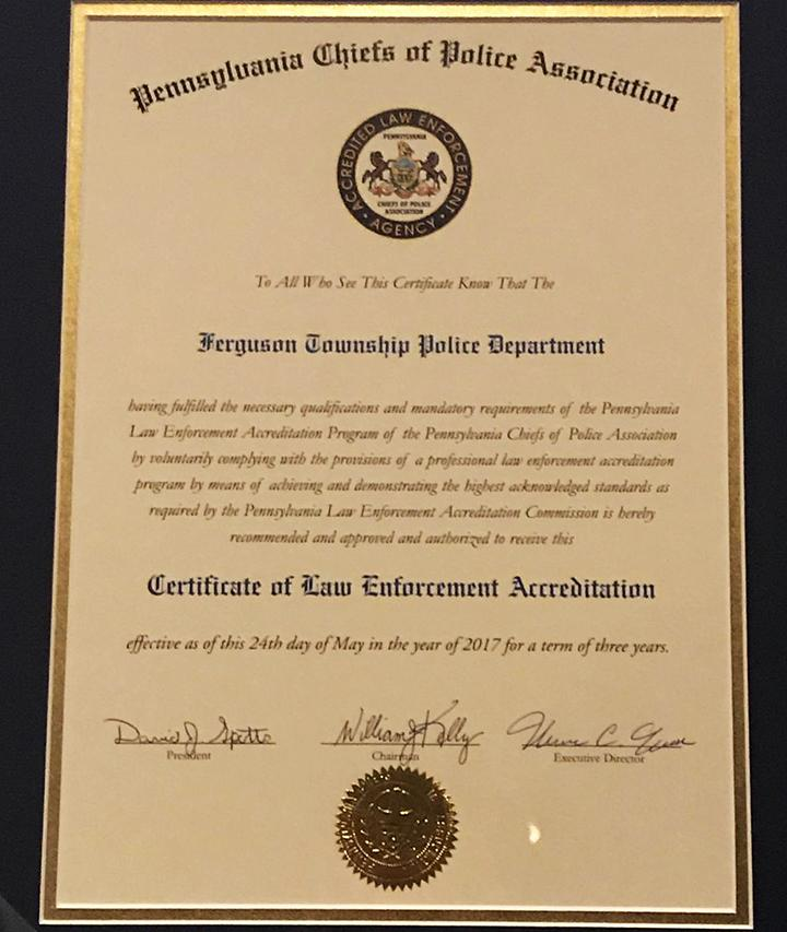 Ferguson Township Police Department achieves official accreditation
