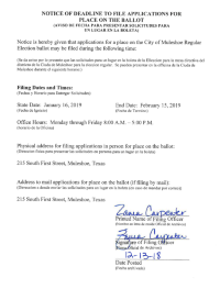 Notice for Filing for a Place on the Ballot