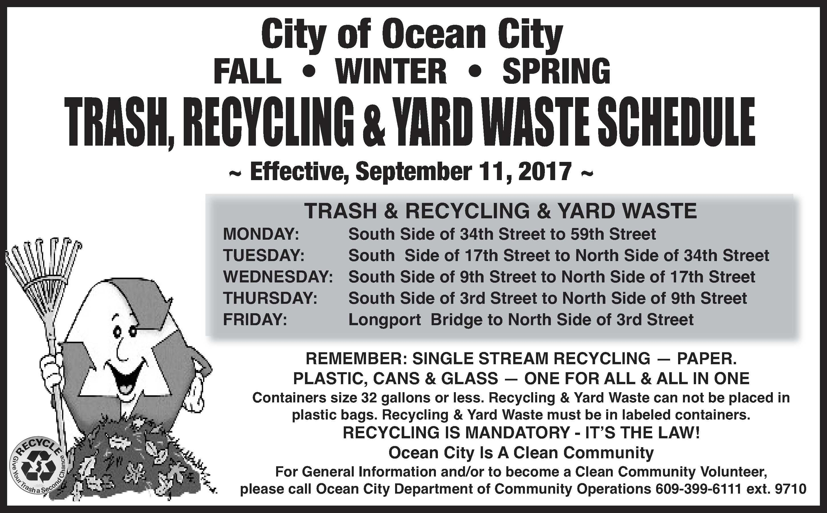 Once a week trash pickup schedule starts on monday sept 11 2017 nvjuhfo Image collections