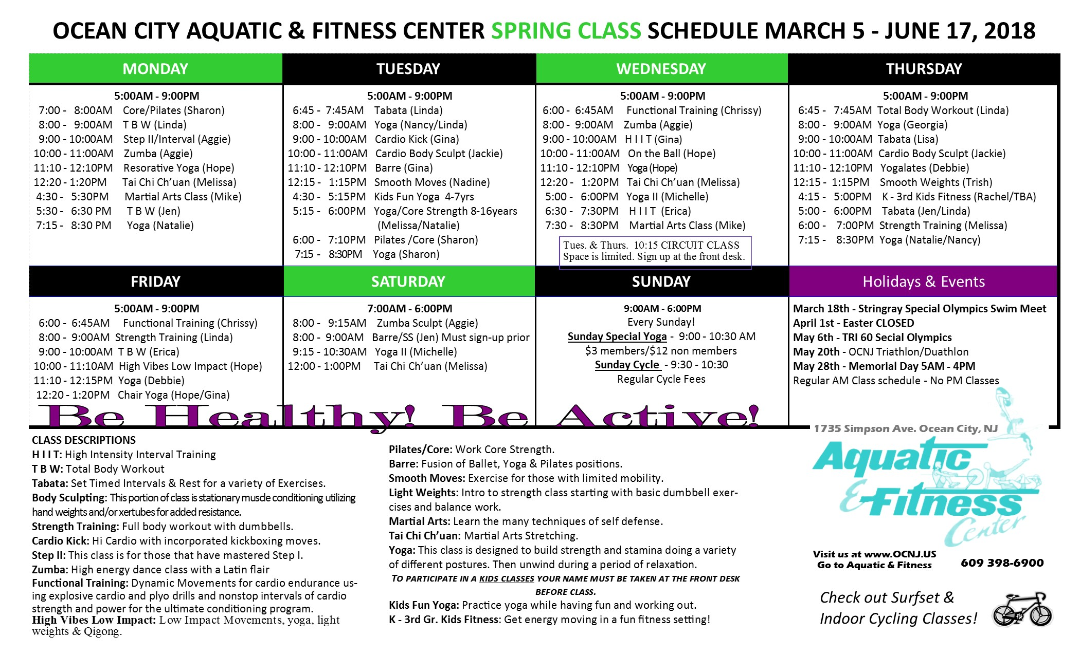 Aquatic and fitness center spring pool schedule spring group exercise schedule nvjuhfo Images