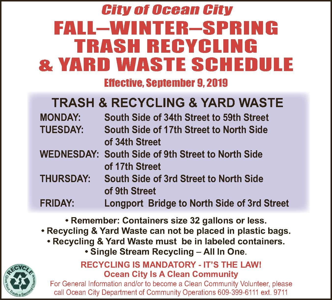 Once-a-Week Trash Pickup Schedule Starts on Monday, Sept  9