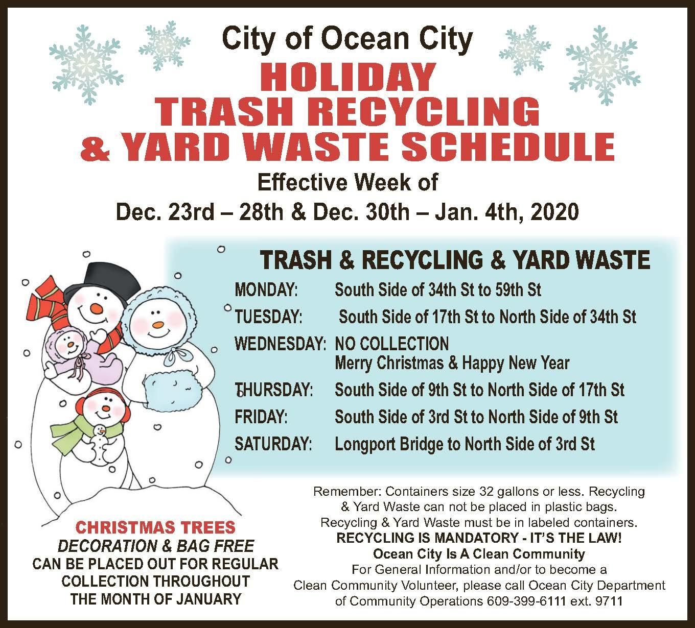 Christmas Holiday Schedule For Trash Pickup 2020 Holiday Trash and Recycling Pickup Schedule
