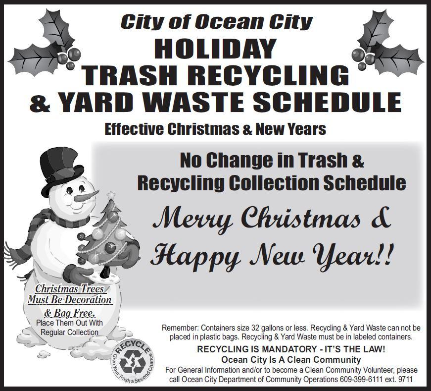 No Changes To Trash And Recycling Pickup Schedule For Holidays