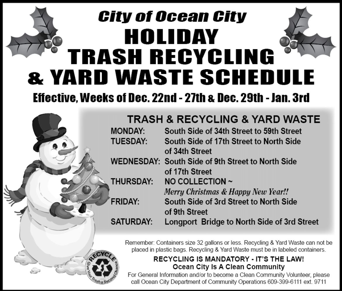 Holiday Trash Recycling Amp Yard Waste Schedule