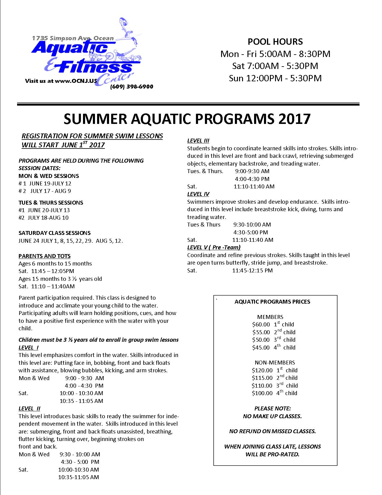 Aquatic fitness center faq summer swim flyer xflitez Gallery