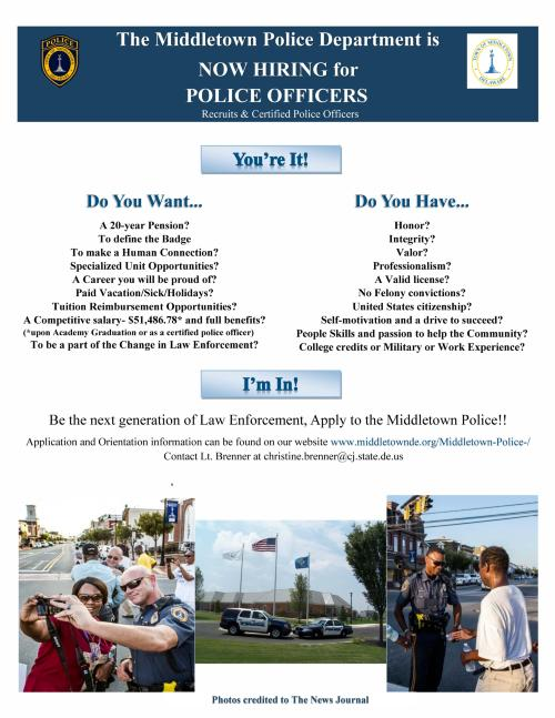 Middletown Police Dept is NOW HIRING