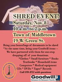 Shred Event Middletown Nov. 8