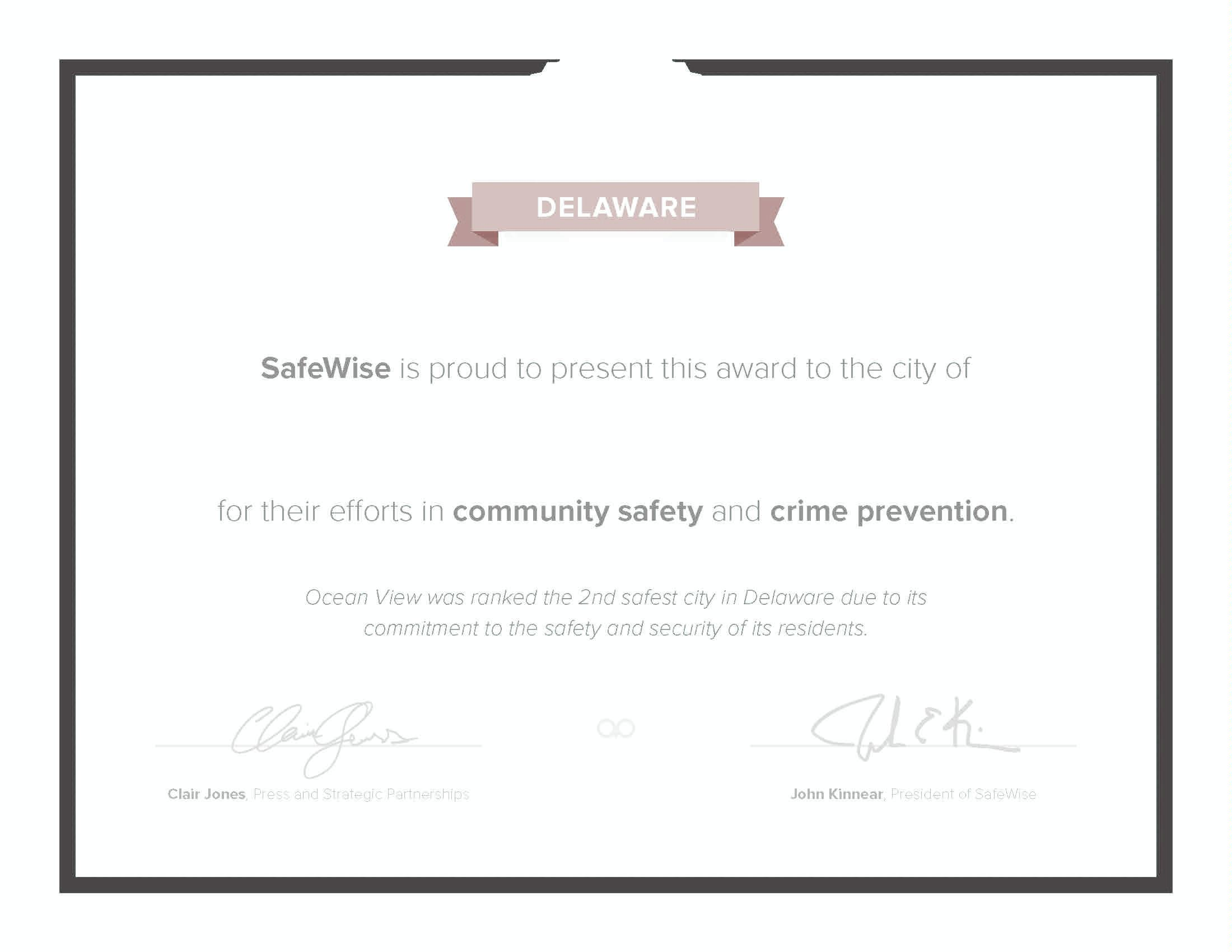 Safe Cities Certificate